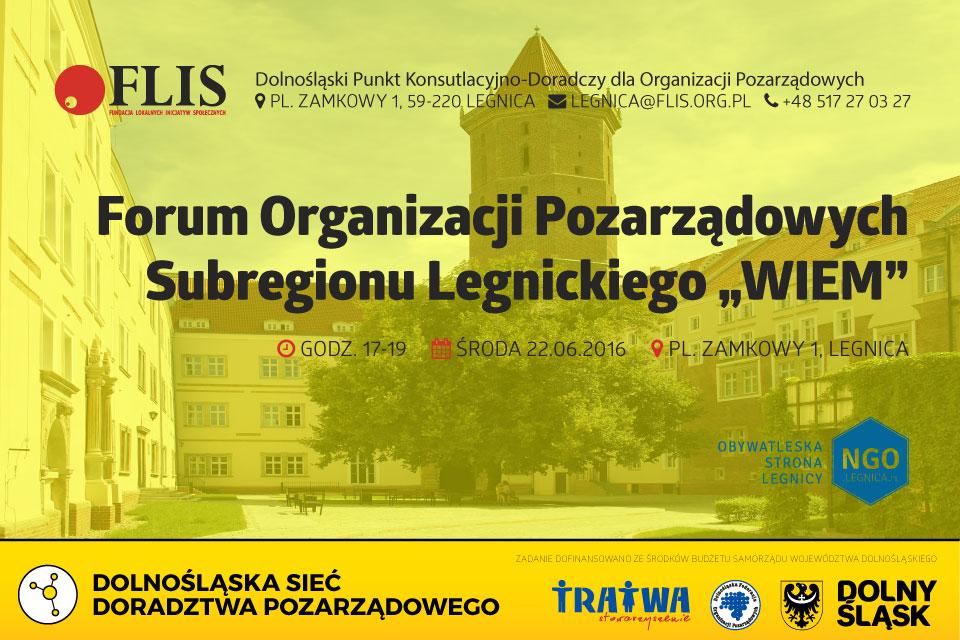 Fundacja FLIS Legnica Dolnośląski Punkt Konsutlacyjno-Doradczy w Legnicy Forum pozarządowe 2016-06-22
