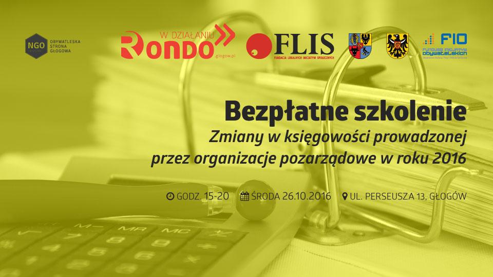 """FLIS Rondo w działaniu 2016-10-26 Bezpłatne szkolenie """"Zmiany w księgowości prowadzonej przez organizacje pozarządowe w roku 2016"""""""