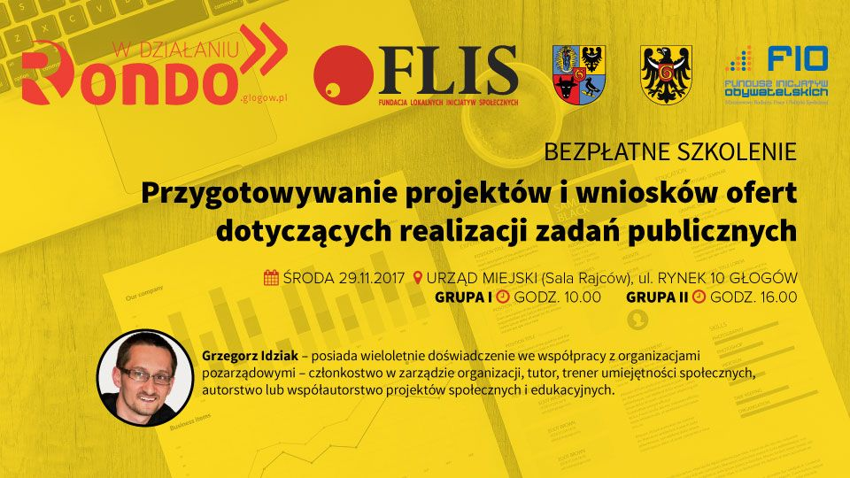 FLIS Rondo w działaniu 2017-11-29 szkolenie Przygotowywanie projektów i wniosków ofert zadań publicznych Grzegorz Idziak